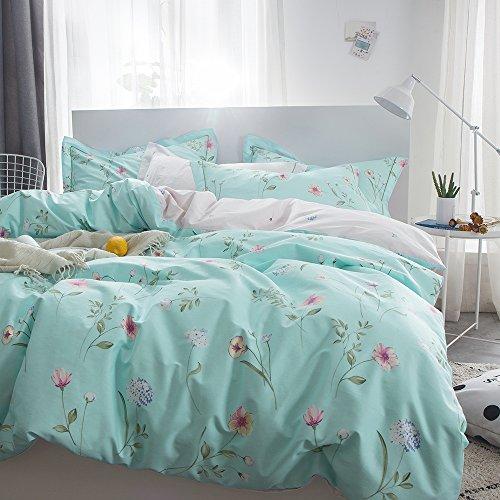 OTOB Floral Bedding Duvet Cover Queen Set for Teen Kids Girl Flower Print Bedding Sets Full Size Cotton 100 Blue, Reversible Lightweight Soft by OTOB (Image #3)