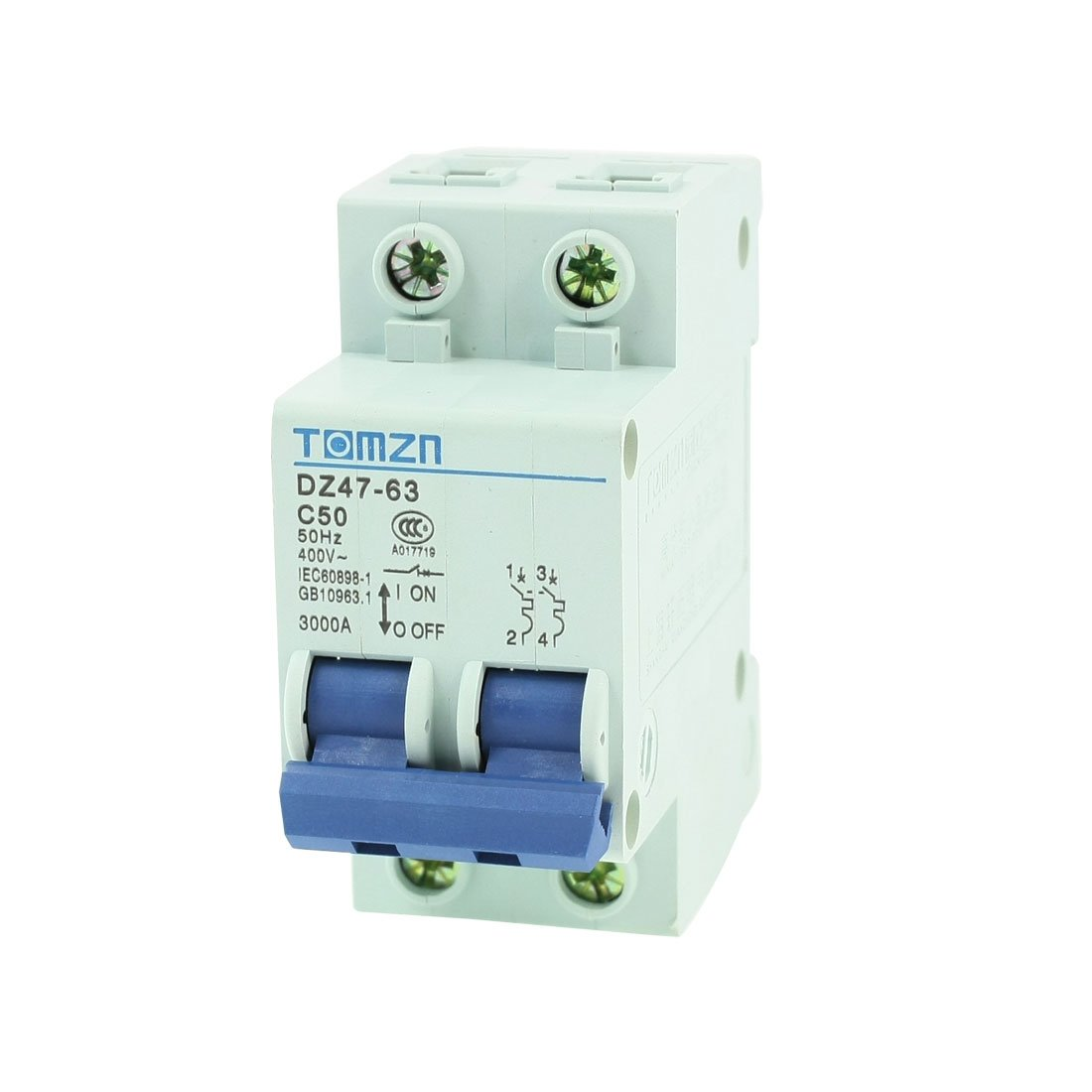 uxcell AC 400V 50A 2 Poles 2P Overload Protection MCB Mini Circuit Breaker