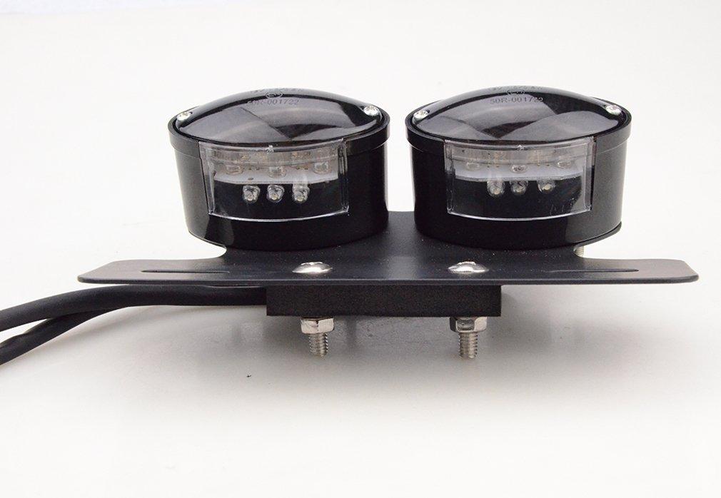 Goofit Chrome Motorcycle double ampoule Indicateur de frein arri/ère Feu arri/ère avec Int/égr/é les signaux Rouge//Gray sauvegarde lampe pour scooter V/élo ATV