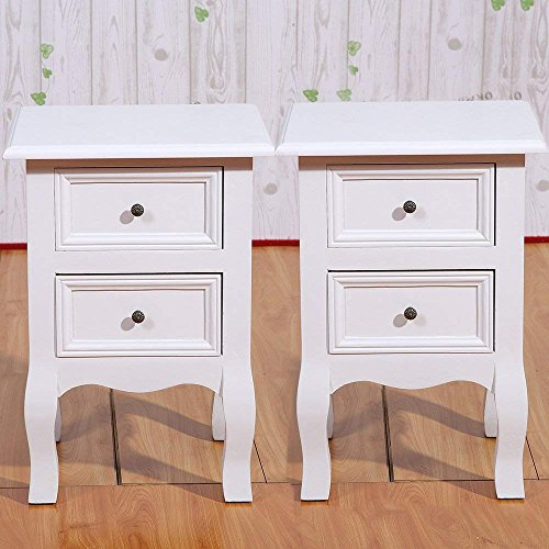 Set of 2 Small Table White Wood Bedside Table End Side Table with 2 Drawers for Small Room 11.81x11.81x19.69in(2 drawer) by Joolihome