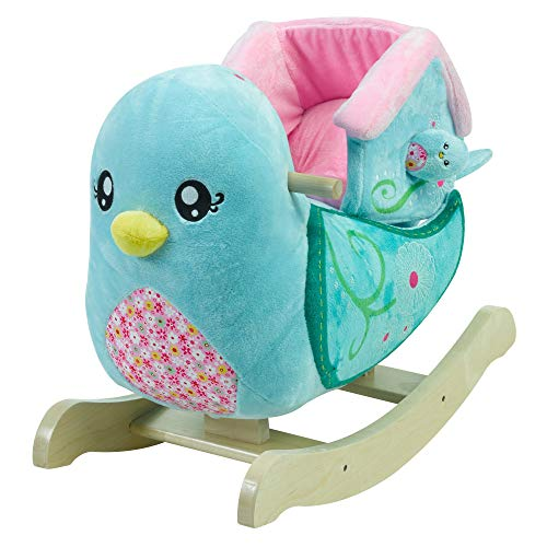 Bitsy Bird Rocker | Horse Plush Butterfly Baby Toy with Wooden Rocking Chiar Horse/Kid Rocking Toy/Baby Rocking Horse/Rocker/Animal Ride
