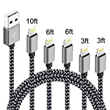 5 Pack (3ft,3ft,6ft,6ft,10ft) Nylon Braided Charging Cord Charger Compatible with PhoneX/8/8Plus 7/7 Plus/6s/6s Plus/6/6 Plus/5s/55se,Pad,Pod-Gray+Black