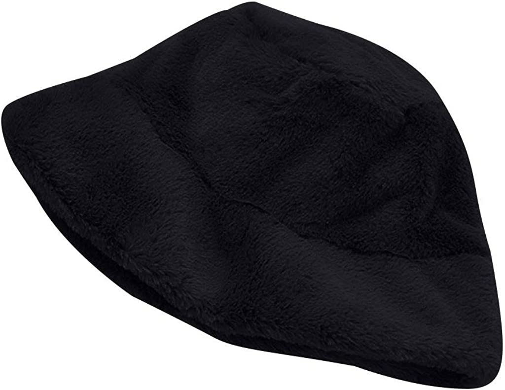 Bucket Hat Women Fulltime TM Winter Thick Warm Fisherman Cap Solid Color Polyester Faux Fur Fishing Hat Soft Portable Wide Sun Cap Windproof for Hiking Camping Traveling Fishing