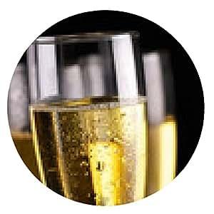 alfombrilla de ratón Flautas de champán en negro - ronda - 20cm