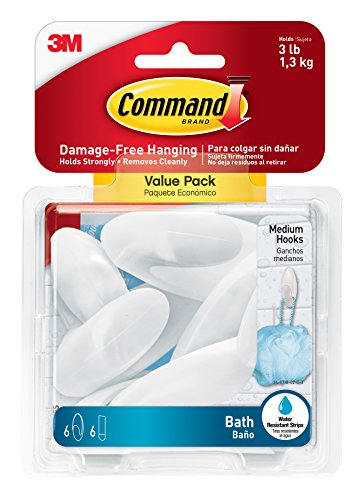 Hooks Value Pack (Command Bath Hook Value Pack, Medium, Clear Frosted, 6-Hooks, 6-Medium Water Resistant Strips (BATH18-6ES))