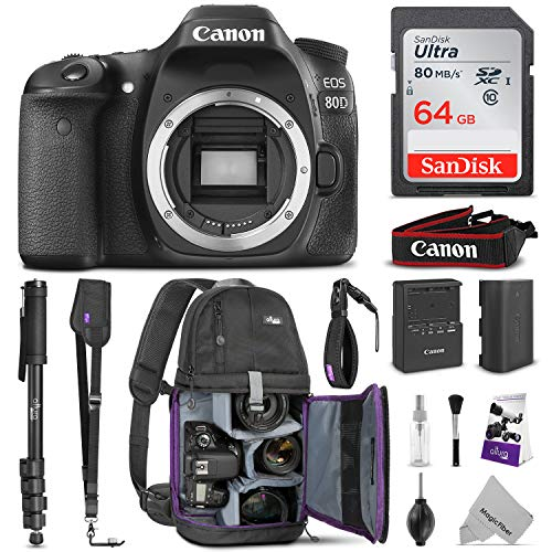 Canon EOS 80D DSLR Camera Body w/Advanced Photo & Travel Bundle – Includes: Canon USA Warranty, Altura Photo Backpack, SanDisk 64gb SD Card, Monopod, Neck Strap and Cleaning Kit