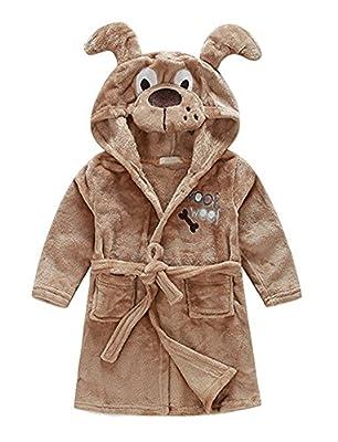 JoyceMall Kids Little Girls Boys Flannel Bathrobe Cartoon Animal Unisex Kids Hooded Pajamas