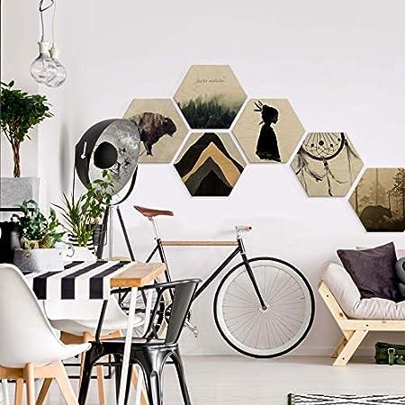 Ove Linde Hexagon Holz Birke-Furnier Nebel am Morgen Wandbild Holzbild Sechseck B/är Wald Tier Natur B/äume mit Wandhalterung Wall-Art