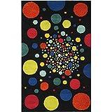 Safavieh Soho Collection SOH728A Handmade Abstract Polka Dots Black and Multi Premium Wool Area Rug (5' x 8')