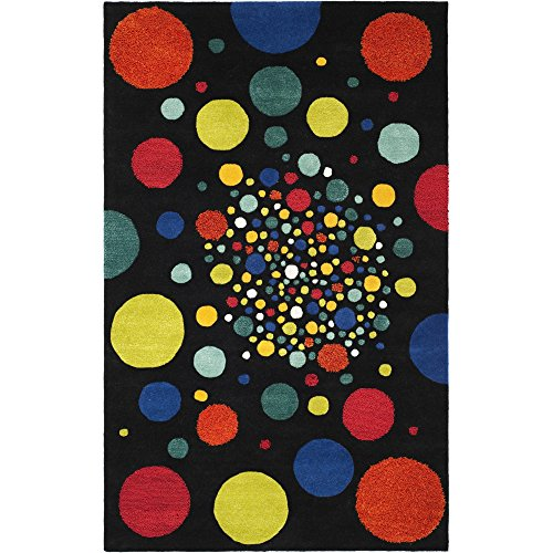(Safavieh Soho Collection SOH728A Handmade Abstract Polka Dots Black and Multi Premium Wool Area Rug (5' x)