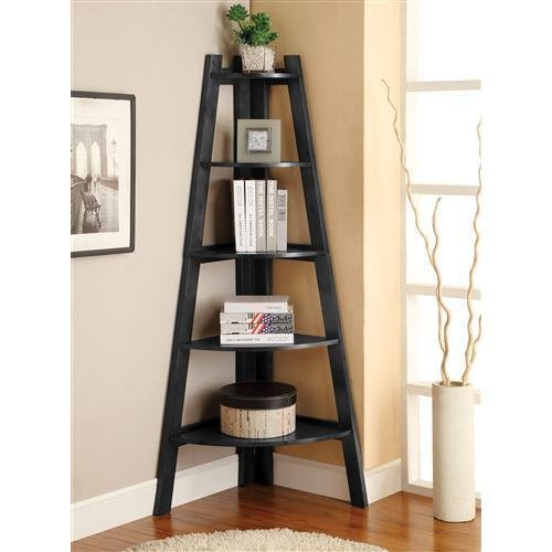 - Furniture of America Lawler 5 Shelf Corner Bookcase in Black