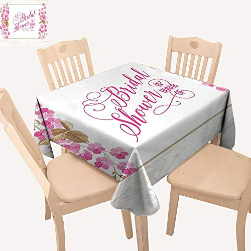 UHOO2018 Square/Rectangle Polyester Tablecloth Table Cover Bride P y Card Inspired Leav Frame Image Lilac Hot Pink and Green for Dining Room,50x 50inch