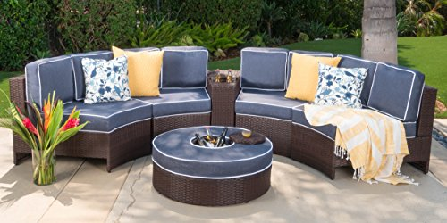 (Christopher Knight Home Riviera Portofino Outdoor 4 Seater Wicker Curved Sectional Set with Ice Bucket Ottoman, Brown and Navy Blue)