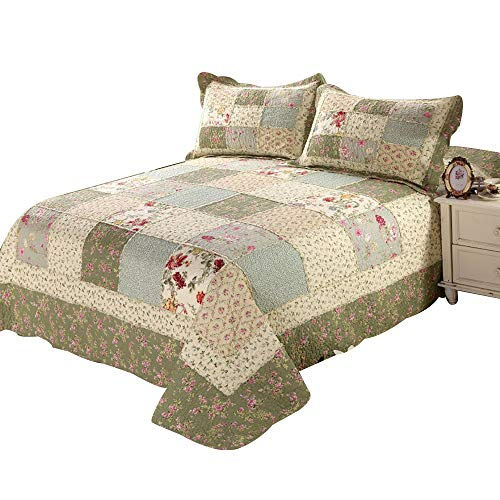 Alicemall Pastoral Bed in a Bag Ultra Soft Countryside Checkered Bedspread/ Quilt Set, Patchwork Floral Coverlet Set, 3 Pieces, Queen Size, Green Color (Green) (Quilts Countryside)