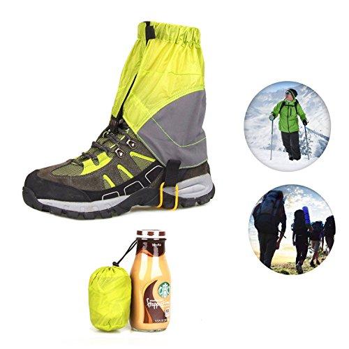 AKEfit Outdoor Waterproof Snow Leg Gaiters Hiking Walking Climbing Hunting Leggings Cover Leg Gaiters for Men and Women (lemon ()