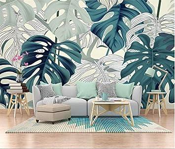 Tapisserie Photo YFXGSTLI Papier Peint Jungle Plantes Tropicales Peintes /À La Main-W150xH105cm Poster Muraux