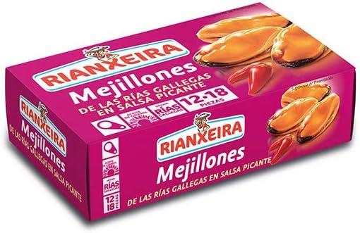 Rianxeira, Conserva de mejillones en salsa picante - 12 latas de ...