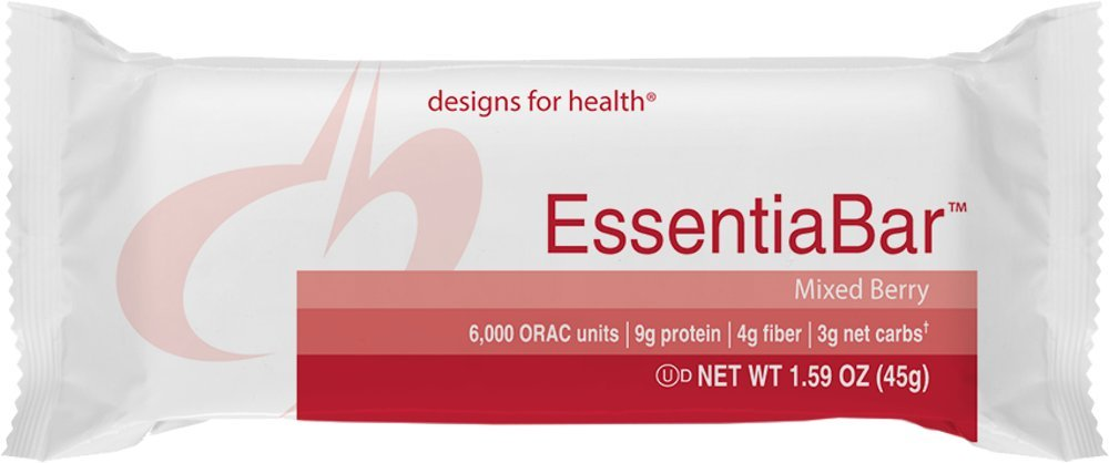 Designs for Health - EssentiaBar Mixed Berry (PaleoBar) - Whey/Rice Protein Base, 18 Bars