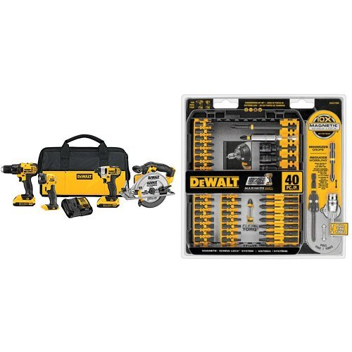 DEWALT DCK421D2 20V MAX Lithium-Ion 4-Tool Combo Kit, 2.0Ah with IMPACT READY...
