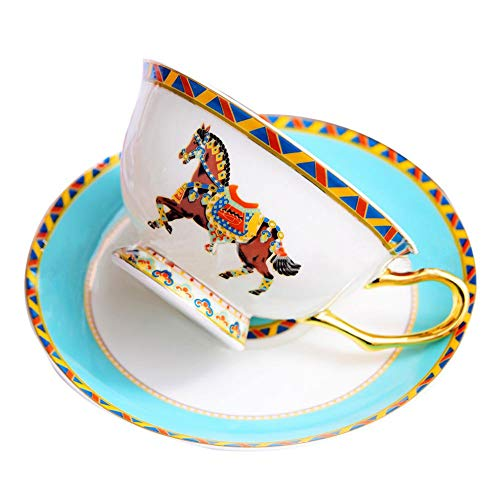 ACOOME Tea Cup and Saucer Set-6.8oz Bone China Horse Pattern Teacup Fine Dining and Table -