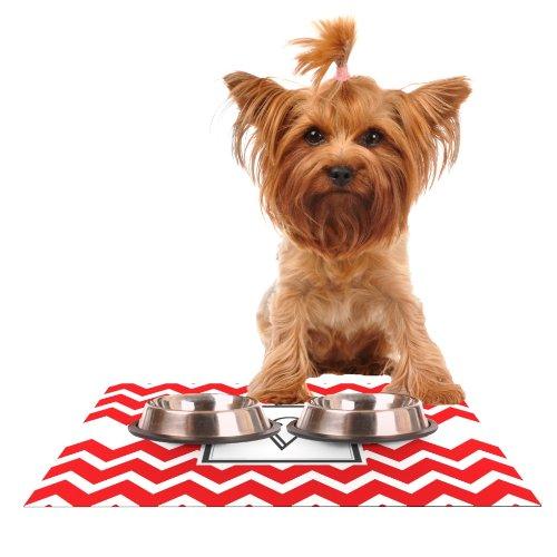 KESS InHouse Kess Original Monogram Chevron Red Letter V  Feeding Mat for Pet Bowl, 18 by 13-Inch