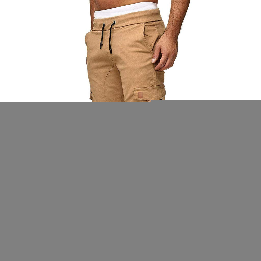 Alalaso Jogger Cargo Men's Chino Jeans Casual Trouser Outdoor Working Pants Khaki