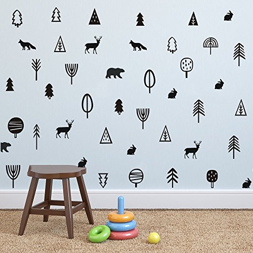 YOYOYU ART HOME DECOR Kids of Trees Woodland Animal Wall Dec