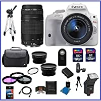 Canon EOS Rebel SL1 DSLR Camera with EF-S 18-55mm f/3.5-5.6 IS STM Lens - White (USA Warranty) & EF 75-300mm f/4-5.6 III Telephoto Zoom Lens + High Quality 2.2X Telephoto & .43X Wide Angle Lenses + Auto Power Flash + 48GB Accessory Bundle Kit Noticeable Review Image