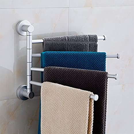 YFF@ILU Actividades de la Toalla de baño Plegable toallero baño toallero Aluminio Espacio Toalla de baño Toalla de rotación del Gantry: Amazon.es: Hogar