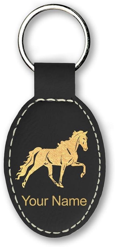 Oval Keychain Horseshoe with Horse