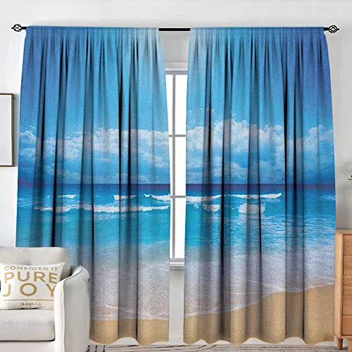 Beach Black Out Window Curtain Seascape Theme Landscape of The Beach and The Cloudy Sky in Summer Digital Print Machine Washable W 72