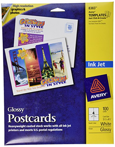 Avery Ink Jet Glossy Photo Quality Post Cards, 4-1/4