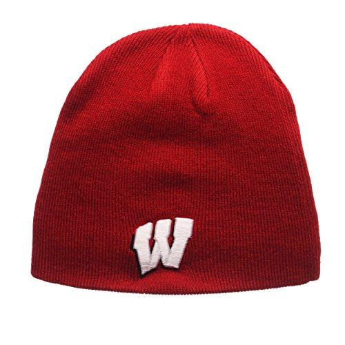 ZHATS Wisconsin Badgers Red Edge Skull Cap - NCAA Cuffless Winter Knit Beanie Toque Hat