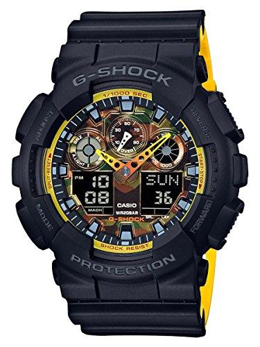 Casio G-Shock Men's Analog-Digital Black & Yellow Resin Strap Watch GA100BY-1A
