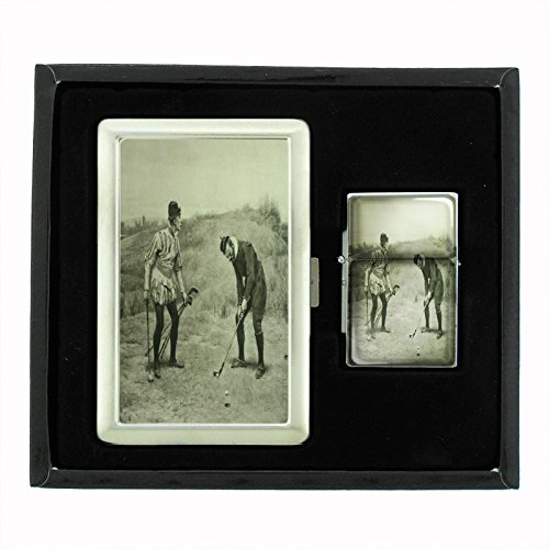 Perfection In Style Cigarette Case and Oil Lighter Gift Set Vintage Golf Design 013 by Perfection In Style