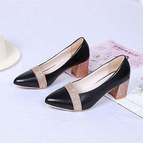 Yukun zapatos de tacón alto Zapatos De Mujer Solos Zapatos De Tacón Alto Verano Y Otoño Boca Femenina Poco Profunda Grueso con Mujeres Salvajes con Mujeres Black