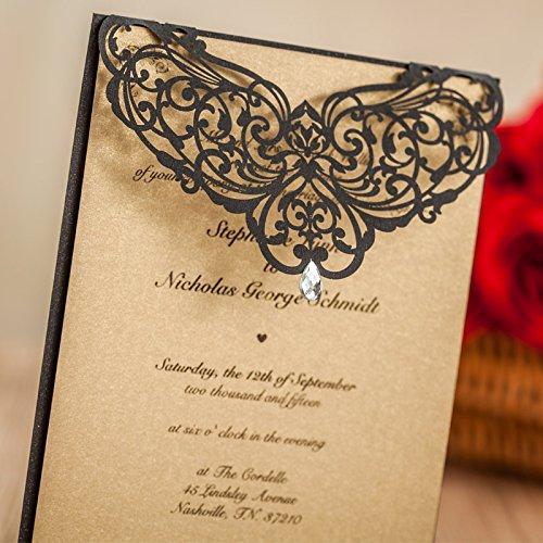 Luxury Rhinestone Gem Diamond Floral Wedding Invitations Elegant Black Laser Cut Party Decorations Friend Cards LA825 (100) by Wishmade (Image #1)