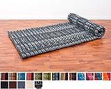 Leewadee Roll Up Thai Mattress, 79x30x2 inches, Kapok Fabric, Black, Premium Double Stitched