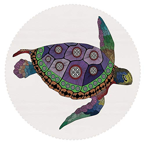 iPrint Decorative Round Tablecloth [ Psychedelic Decor,Sea Turtle