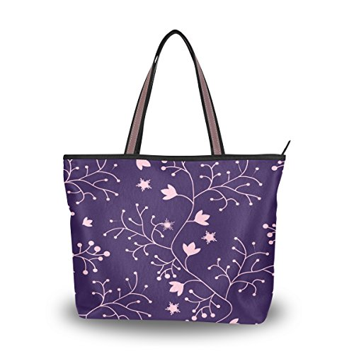 Women's Designer Handbags Fashion Big Canvas Washable Tote Bags Shoulder Bag Top-handle Bag with Purple Vine for Shopping Travel - Sunglasses Vine Slide