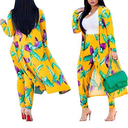 3 Piece Sweater Vest Pants - Women's 3 Piece Outfits - Floral Print Long Sleeve Cardigan Cover up + Vest Top + Long Pants Suit Set Jumpsuits Yellow Medium