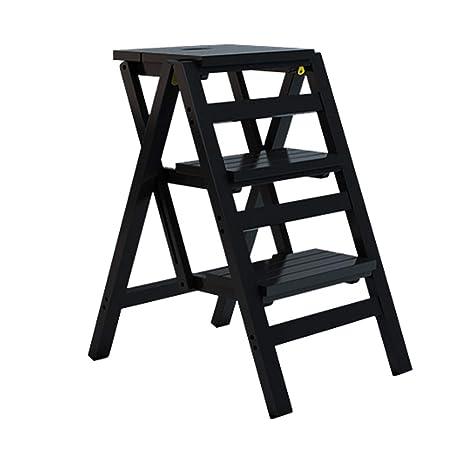 Amazon.com: Escalera plegable de 3 hilos, escalera de madera ...