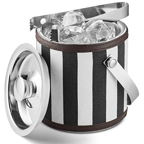 Mitbak Doubled Walled Ice Bucket with Ice Tongs | Sleek Insulated Stainless Steel Ice Holder Will Keep Ice Cubes Frozen for Hours | Elegant Kitchen and Bar Accessories | 1.5L (Black/White)