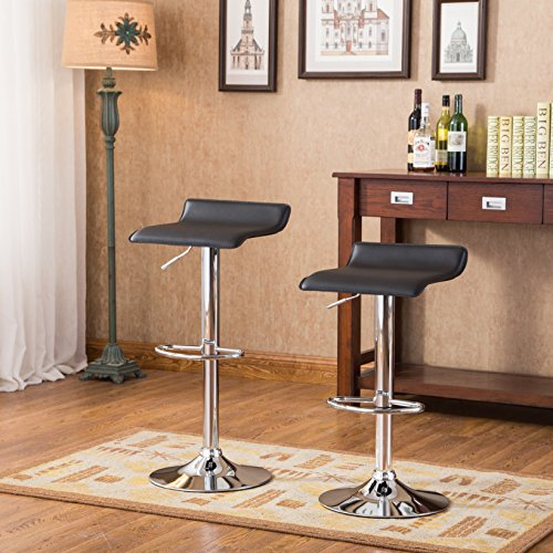 - Roundhill Furniture Contemporary Chrome Air Lift Adjustable Swivel Stools with Black Seat, Set of 2
