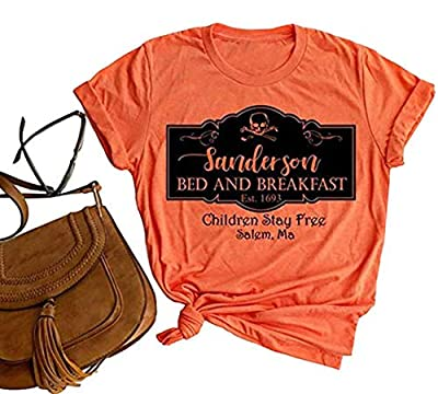 Halloween Shirts for Women Sanderson Bed and Breakfast T-Shirt Funny Letter Print Graphic Tee