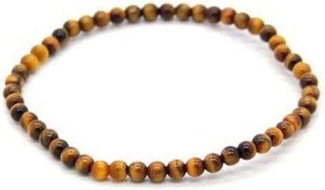 Pulsera Elastica Bolas de Ojo de Tigre de 4 mm Minerales y Cristales, Belleza energética, Meditacion, Amuletos Espirituales