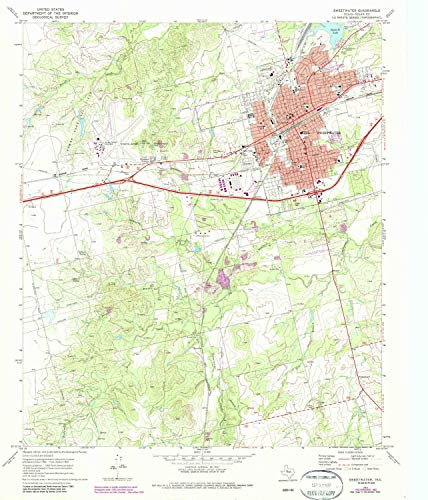 YellowMaps Sweetwater TX topo map, 1:24000 Scale, 7.5 X 7.5 Minute, Historical, 1969, Updated 1987, 26.9 x 23 in - Tyvek