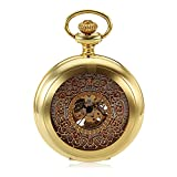 Fashion Classic Retro Hollow Gold White Dial Roman Number Skeleton Hand Winding Mechanical Analog Mens Pocket Watch w/Chain