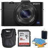 Sony DSC-RX100M II DSC-RX100M2 DSC-RX100MII RX100M2 RX100MII DSC-RX100M II Cyber-shot Digital Still Camera 20.2MP, Black Bundle w/ 16GB Ultra SDHC Memory Card, Deluxe Padded Case, & Lens Cleaning Kit