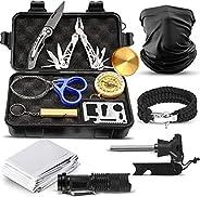 Kit de supervivencia táctico al aire libre kits de supervivencia – 12 piezas de equipo esencial para camping,